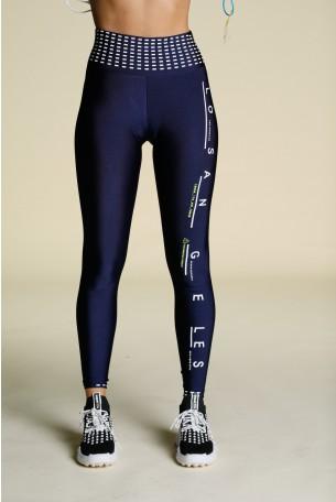 Dark Blue Designed Leggings LOS ANGELES