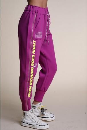 Purple Designed Zipper  Joggers GO SEVEN