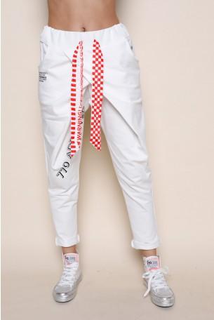 White Designed Jogger Pants  ADDICTED