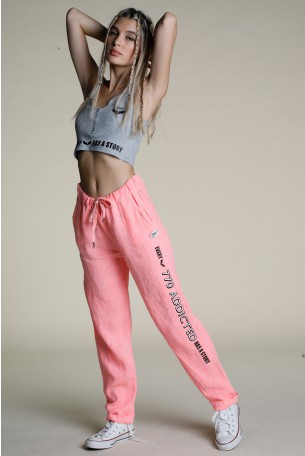 Designed Neon Pink Linen Pants ADDICTED