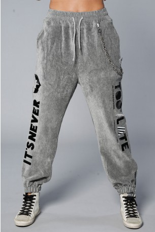 Gray  Designed Corduroy Joggers NEVER
