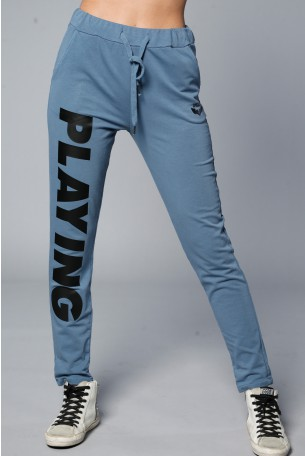 GRay Blue Designed Joggers PLAYING