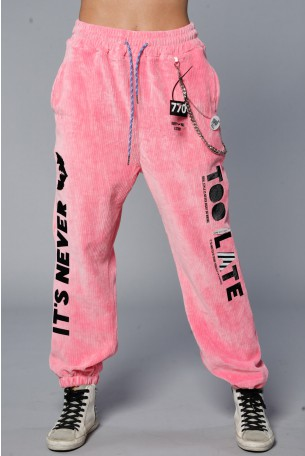 Designed Pink Corduroy Joggers NEVER