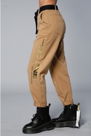 Brown Designed Joggers With Belt  NO ONE