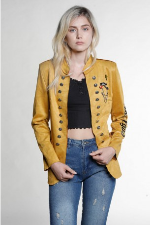 Mustard Faux Suede Blazer Cut Jacket BLACK