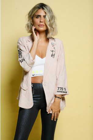 Old Pink Linen Blazer Jacket THAT