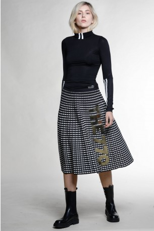 Black And White plaid Knitted Skirt THE770
