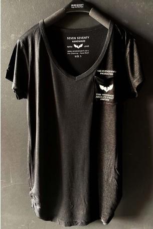 Black Designed V Neckline T Shirt UNIFORM