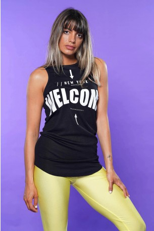 Black Cotton Tank WELCOME
