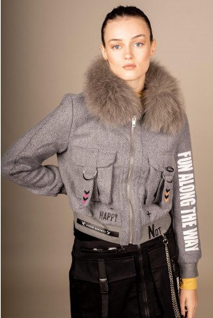 Decorated Gray Jacket  Fur Colar FUN