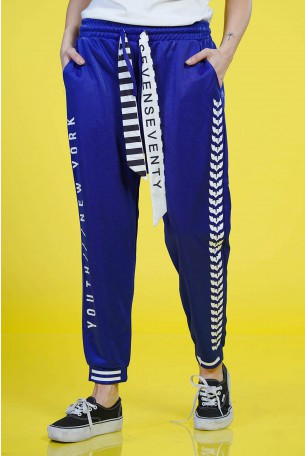 Designed Blue Jogger Pants NEW YORK