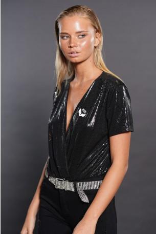 Black Shiny Bodysuit SEVEN