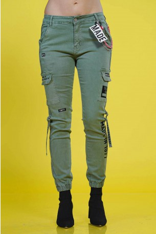 Olive Color Pants MADE IN