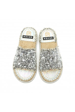 Silver  Color Flat Slides with Sequins SEVEN