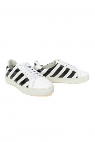 White and Black Sneakers BLACK STRIPE