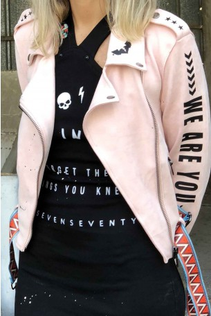 Decorated Pink Faux Suede Jacket WE ARE