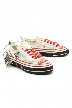 White and Red Low Cut Sneakers STAR