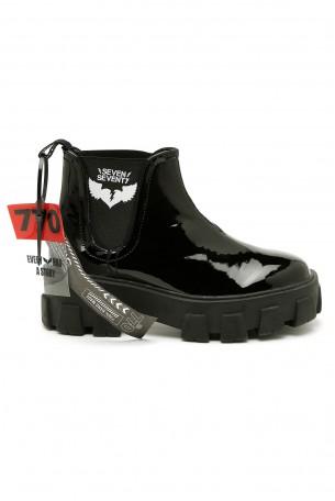 Black Low Cut Lacquer Boots BLACK