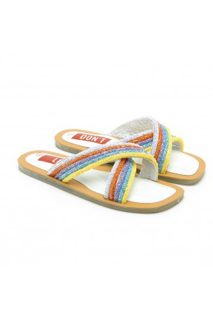 Opened Colorful X Strap Slides RAINBOW