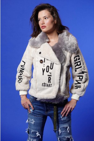 Beige Jacket Grey Faux YOU