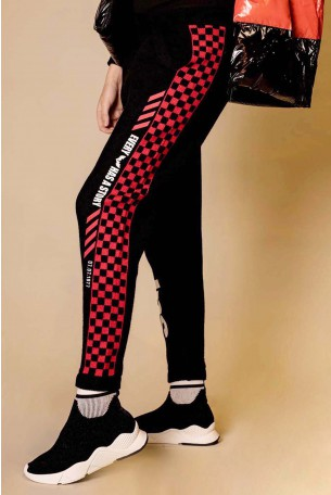 Black and Red Designed Jogger Pants STORY