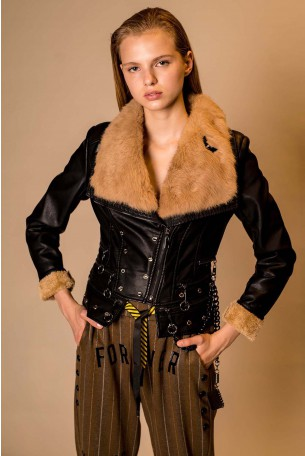 Decorated Black Faux Leather Jacket FREE