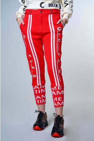 Red  Designed  Jogger  Pants LOS ANGELES