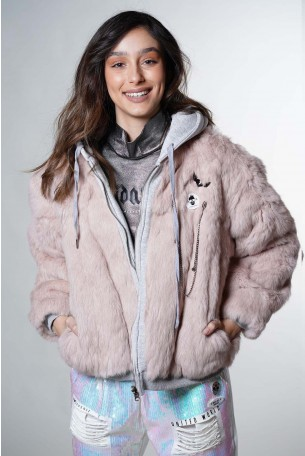 Pink Fur and Sweat Jacket COOL