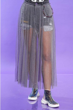 Denim Pants Covered with a Gray Tulle Skirt MAGIC