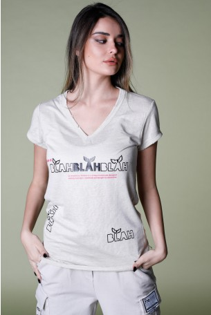 Beige Designed T Shirt BLAH