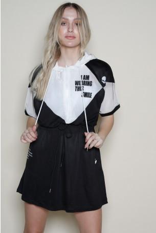 Black And White Mini Tunic Dress SMILE