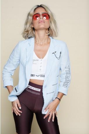 Ligh Blue  Loose Linen Blazer Cut  Jacket NEW YORK