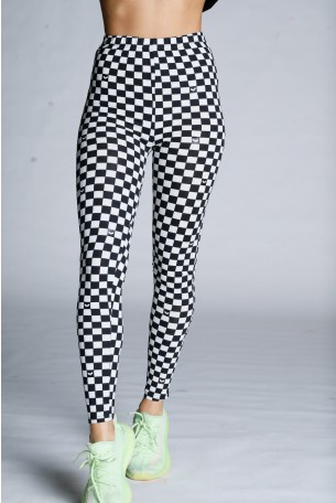 Black White Checked Leggings WINGS