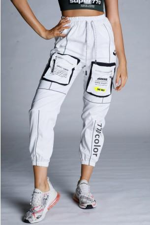 White Nylon Jogger Pants HAND MADE