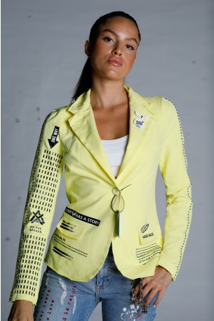Yellow Pullover Blazer Cut  Jacket ONE WAY