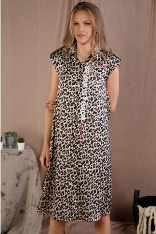 Brown Leopard Print Satin Midi Dress BACK