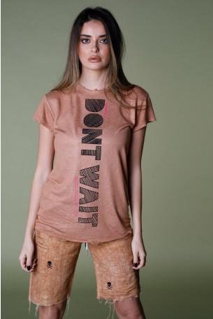 Brown Designed T Shirt DON'T