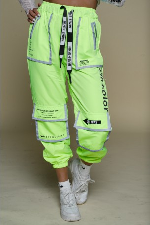 Neon Yellow Nylon Jogger Pants COLOR
