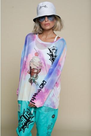 Multicolor Sheer Long Sleeve Shirt ICECREAM