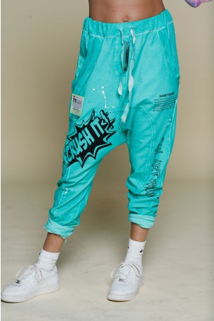 Turquoise Color Jogger Pants CRUSH