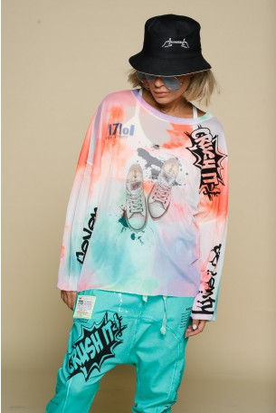 Multicolor Sheer Long Sleeve  Shirt SNEAKERS