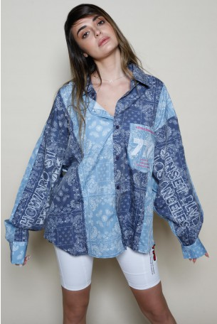blue Colors Bandana Print Long Sleeve  Buttoned Up  Top  NEW YORK