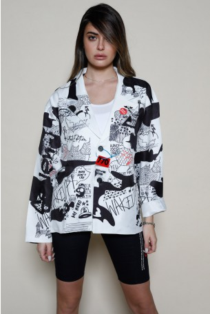 Black And White Graffiti  Print Long Sleeve  Buttoned Up  Jacket Top  GRAFFITI