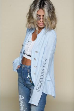 Light Blue Loose Linen Blazer Cut  Jacket NEW YORK