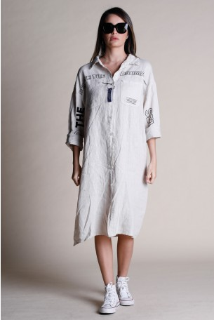 Beige Button Linen Midi Dress DRAMA