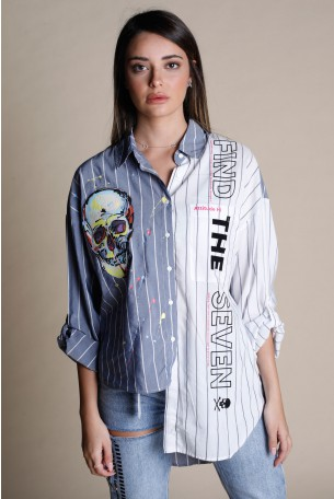 Denim And White Colors Asymmetrical Long Sleeve Buttoned Up Top FIND