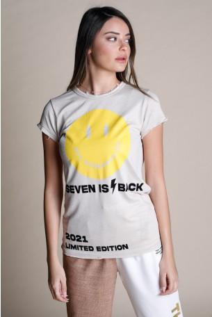 Beige Designed T Shirt SMILE
