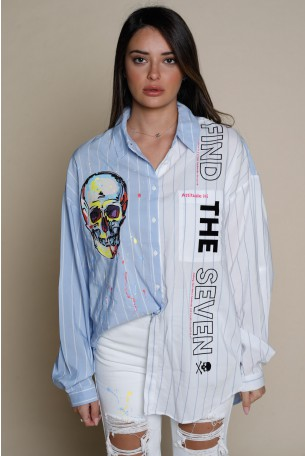 Light Blue And White Colors Asymmetrical Long Sleeve Buttoned Up Top FIND