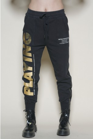 Black Designed Zipper Joggers PLAYING