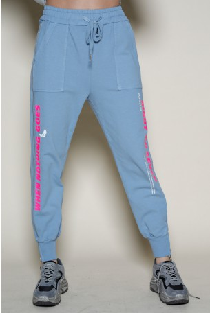 Light Blue Designed Zipper Joggers NOTHING
